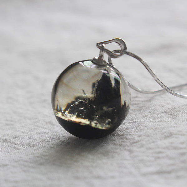 Unique Wood and Resin Pendant Necklace Sterling Silver Handmade Couple Jewelry Accessories Women Men