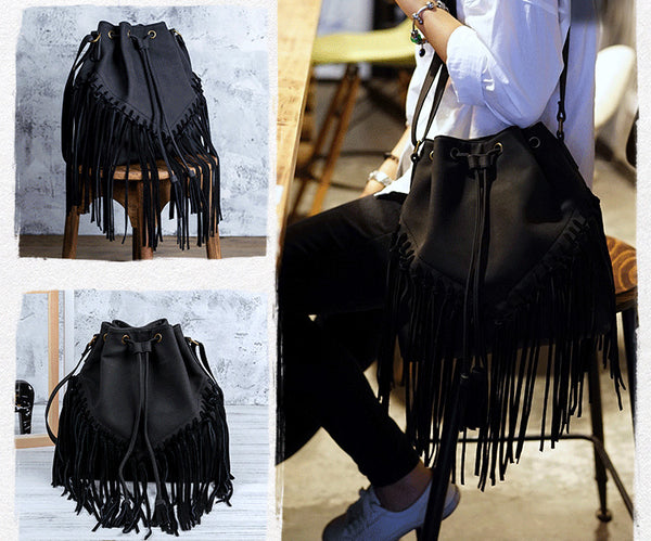 Vintage Boho Crossbody Fringe Purse PU Leather Shoulder Bag for Women Brown