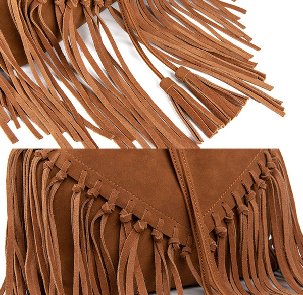 Vintage Boho Crossbody Fringe Purse PU Leather Shoulder Bag for Women Small