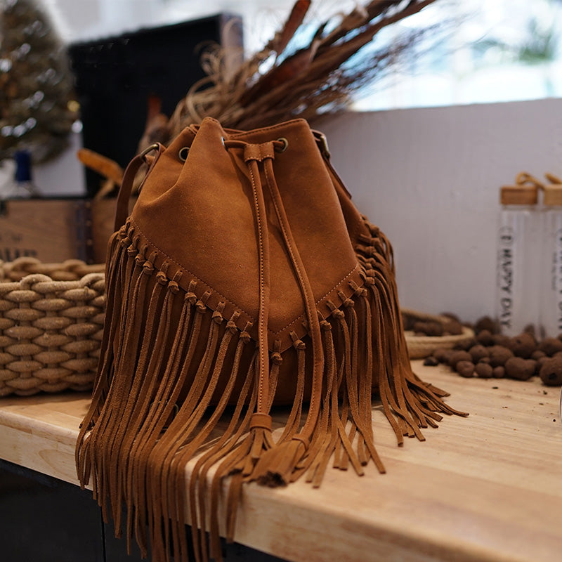 Vintage Boho Crossbody Fringe Purse PU Leather Shoulder Bag for Women