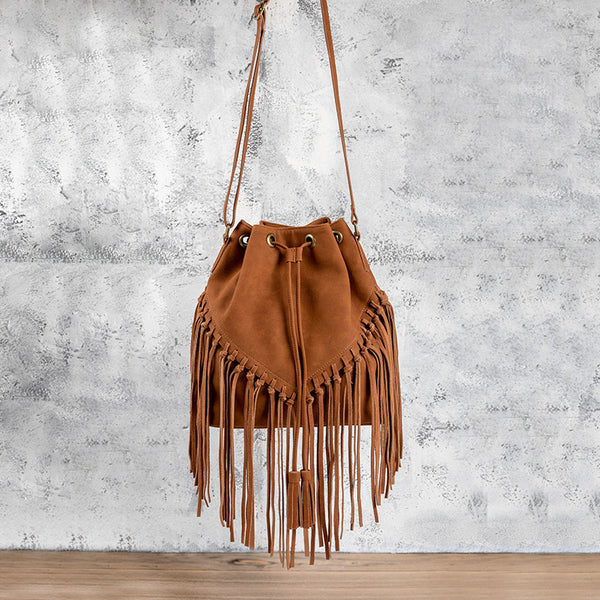 Vintage PU Leather Boho Crossbody Fringe Purse Shoulder Bag for Women