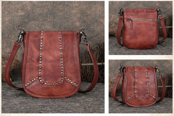 Vintage Boho Leather Crossbody Saddle Bag Western Purses Shoulder Bag for Women Durable