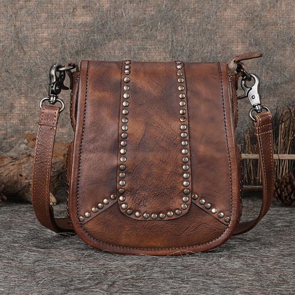 Vintage Boho Leather Crossbody Saddle Bag Western Purses Shoulder Bag