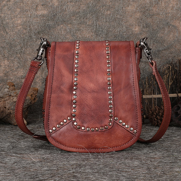 Vintage Boho Leather Crossbody Saddle Bag Western Purses