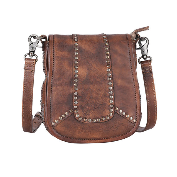 Vintage Boho Leather Crossbody Saddle Bag