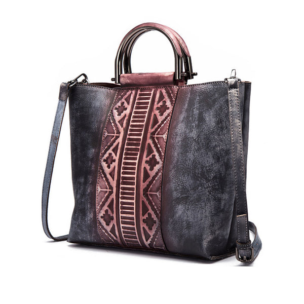Vintage Dyed Leather Womens Handbags Shoulder Bag Purses for Women