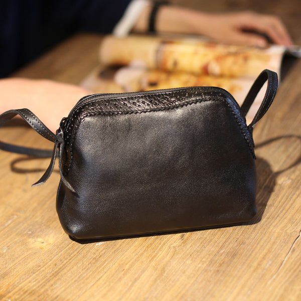 Vintage Genuine Leather Shoulder Crossbody Bags Purses Women black