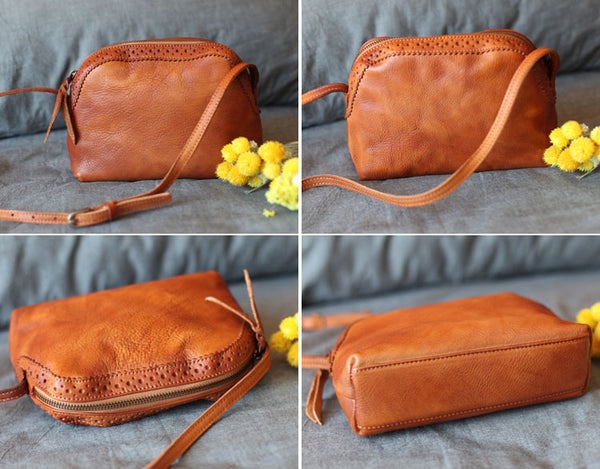 Vintage Genuine Leather Shoulder Crossbody Bags Purses Women details 2