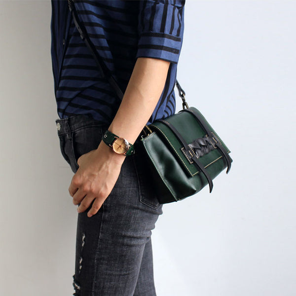 Vintage Handmade Leather Crossbody Shoulder Shell Bags Purses Accessories Women green