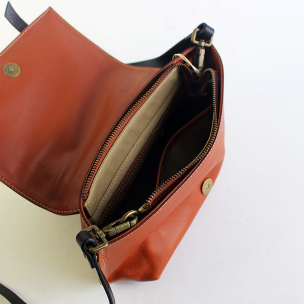 Vintage Handmade Leather Crossbody Shoulder Shell Bags Purses Accessories Women inside