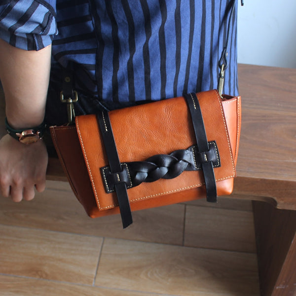 Vintage Handmade Leather Crossbody Shoulder Shell Bags Purses Accessories Women nice bag
