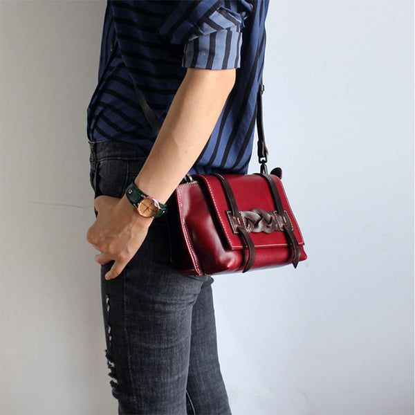 Vintage Handmade Leather Crossbody Shoulder Shell Bags Purses Accessories Women red