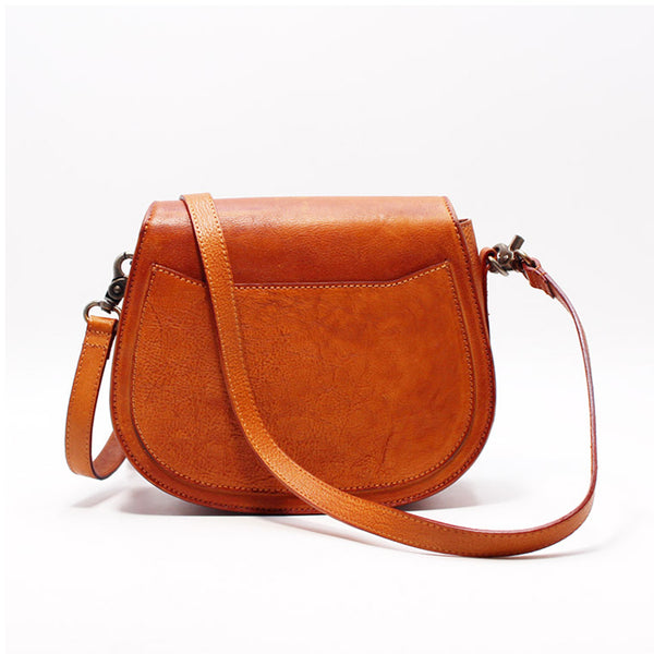 Vintage Handmade Leather Saddle Crossbody Shoulder Bag Round Bag Purses Women gift