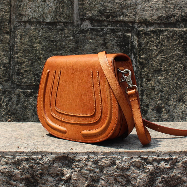 Women Saddle Bags Brown Leather Crossbody Bags Shoulder Bag for Women