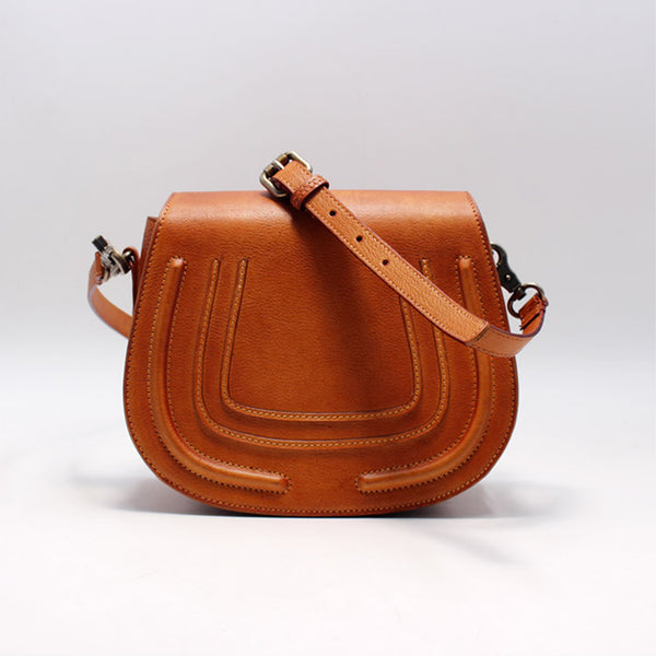 Vintage Handmade Leather Saddle Crossbody Shoulder Bag Round Bag Purses Women