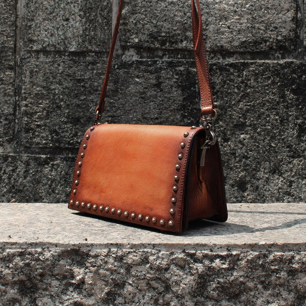 Vintage Handmade Rive -Leather Crossbody Shoulder Bags Purses Accessories Women brown