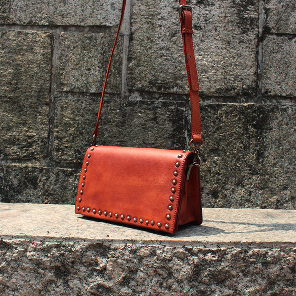 Vintage Handmade Rivet Leather Crossbody Shoulder Bags Purses Accessories Women red