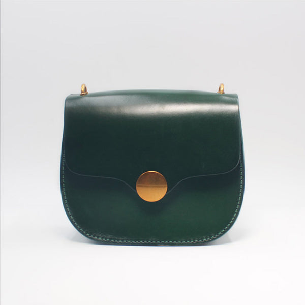Vintage Handmade leather Saddle Crossbody Shoulder Purses Women Accessories green
