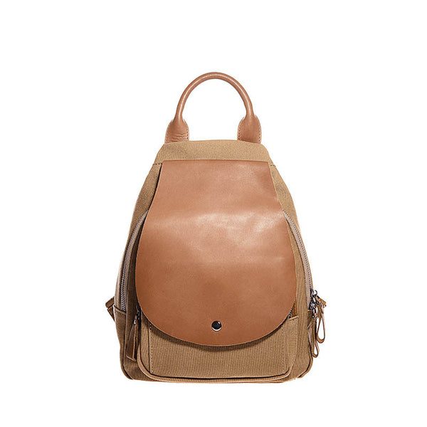 Vintage Ladies Canvas And Genuine Leather Rucksack Backpack Purse Handbags for Women Accessories