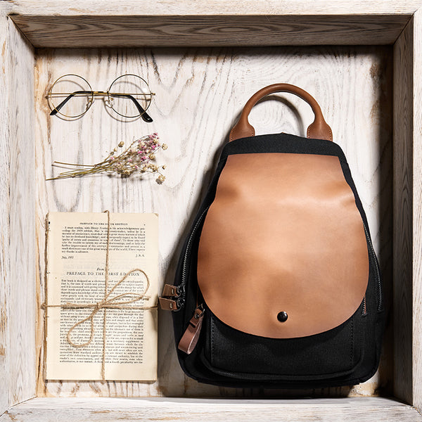 Vintage Ladies Canvas And Genuine Leather Rucksack Backpack Purse Handbags for Women Affordable