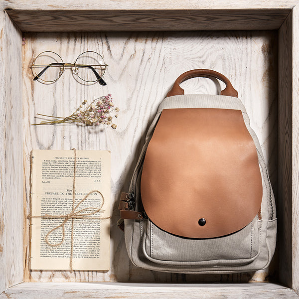 Vintage Ladies Canvas And Genuine Leather Rucksack Backpack Purse Handbags for Women Beautiful