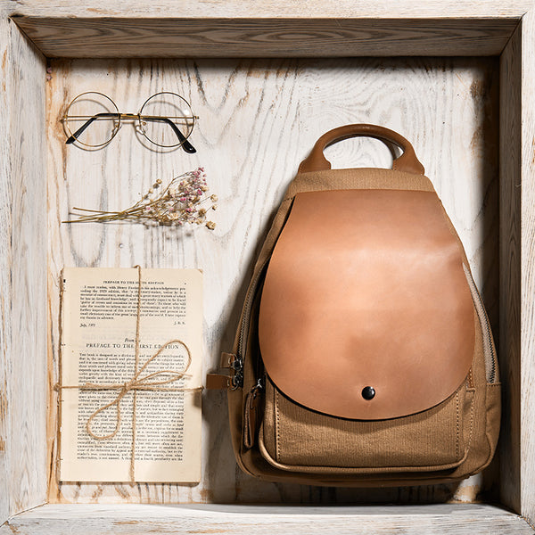 Vintage Ladies Canvas And Genuine Leather Rucksack Backpack Purse Handbags for Women Best
