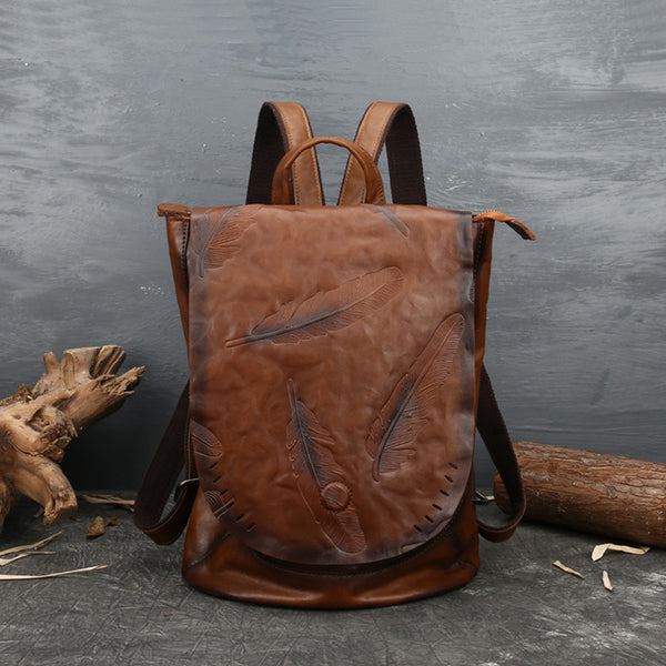Vintage Ladies Embossed Leather Backpack Purse Rucksack Bag For Women