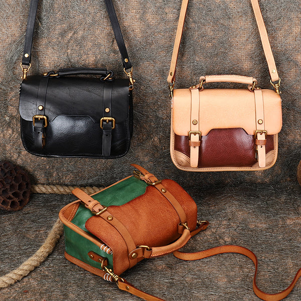Vintage Ladies Leather Crossbody Messenger Bag Satchel Handbags for Women Chic