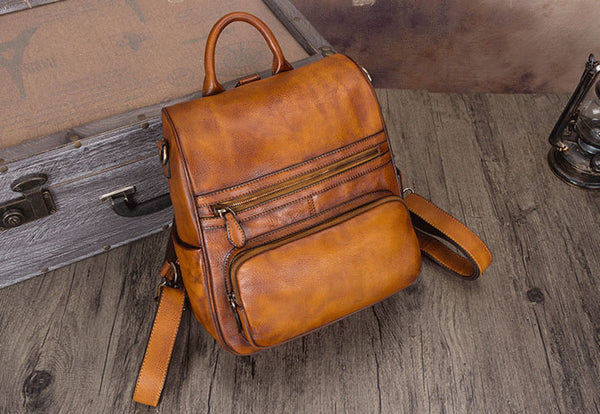 Vintage Ladies Leather Satchel Backpack Purse Sling Bags for Women Brown