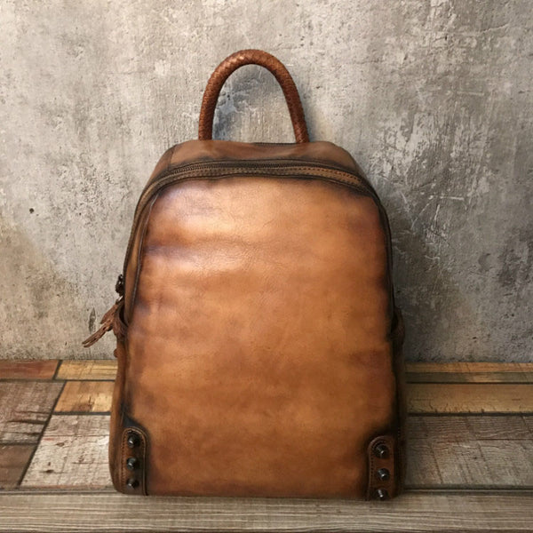 Vintage Ladies Leather Zip Backpack Purse Medium Leather Rucksack For Women Accessories