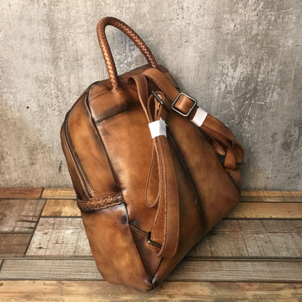 Vintage Ladies Leather Zip Backpack Purse Medium Leather Rucksack For Women Funky