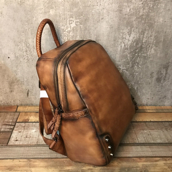 Vintage Ladies Leather Zip Backpack Purse Medium Leather Rucksack For Women Genuine Leather
