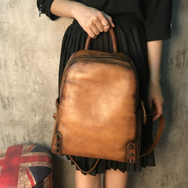 Vintage Ladies Leather Zip Backpack Purse Medium Leather Rucksack For Women Gift idea