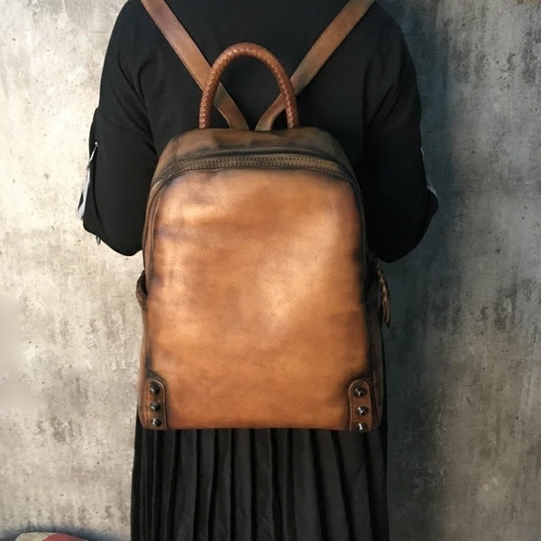 Mini Womens Vintage Brown Leather Backpack Purse Cowhide Crossbody Bag
