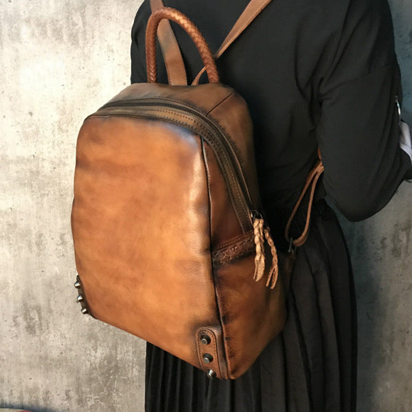 Vintage Ladies Leather Zip Backpack Purse Medium Leather Rucksack For Women Handmade