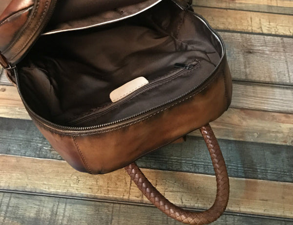 Vintage Ladies Leather Zip Backpack Purse Medium Leather Rucksack For Women Inside