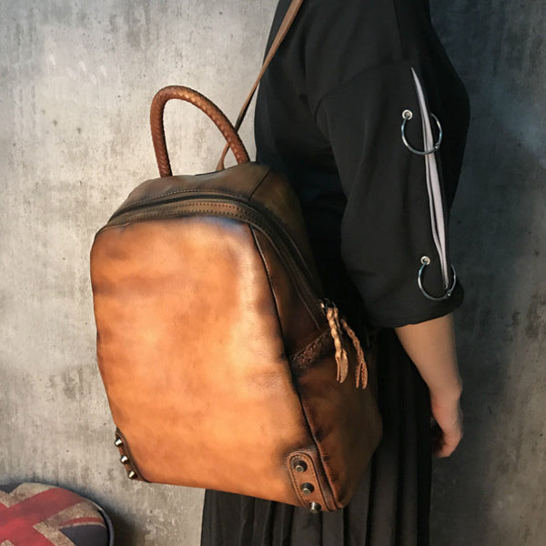 Vintage Ladies Leather Zip Backpack Purse Medium Leather Rucksack For Women Latest