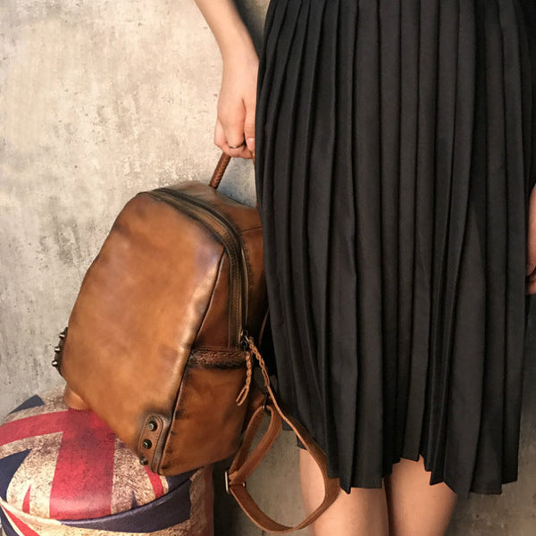 Vintage Ladies Leather Zip Backpack Purse Medium Leather Rucksack For Women Minimalist