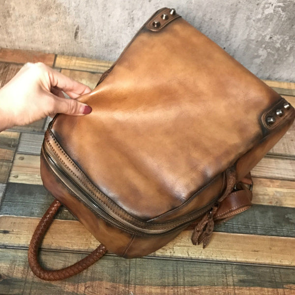 Vintage Ladies Leather Zip Backpack Purse Medium Leather Rucksack For Women Nice