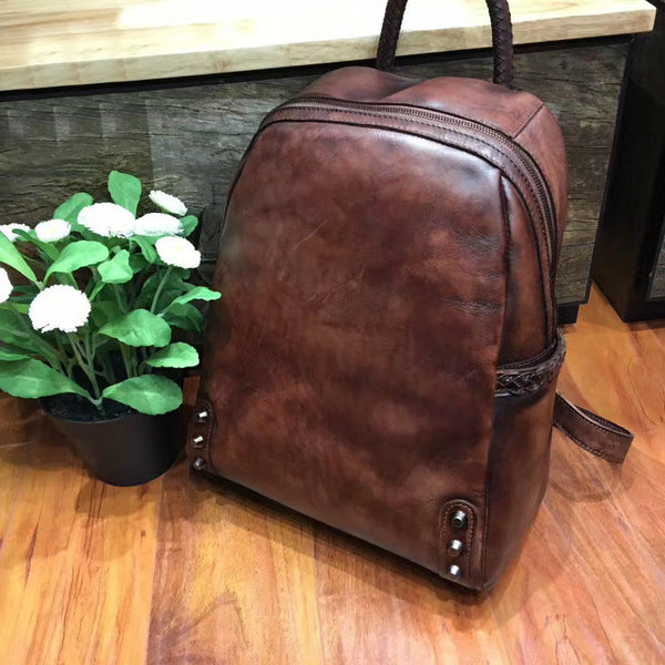 Vintage Ladies Leather Zip Backpack Purse Medium Leather Rucksack For Women Original