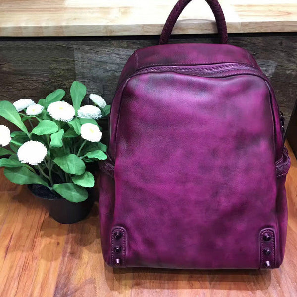 Vintage Ladies Leather Zip Backpack Purse Medium Leather Rucksack For Women Outside