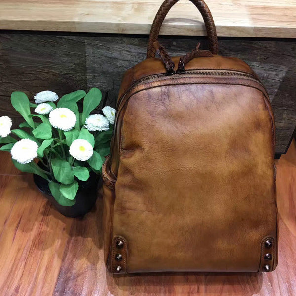 Vintage Ladies Leather Zip Backpack Purse Medium Leather Rucksack For Women Small