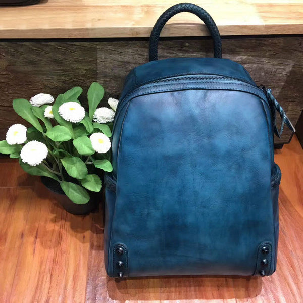 Vintage Ladies Leather Zip Backpack Purse Medium Leather Rucksack For Women Stylish