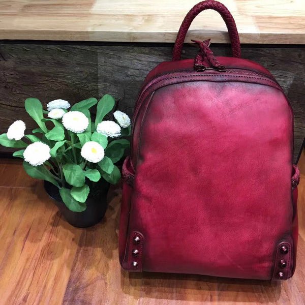 Vintage Ladies Leather Zip Backpack Purse Medium Leather Rucksack For Women Side