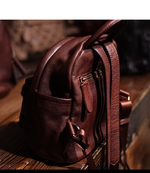 Vintage Ladies Mini Brown Leather Backpack Purse Cute Leather Backpacks for Women Boutique