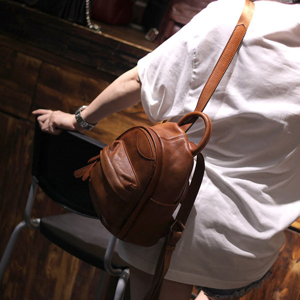 Vintage Ladies Mini Brown Leather Backpack Purse Cute Leather Backpacks for Women Brown