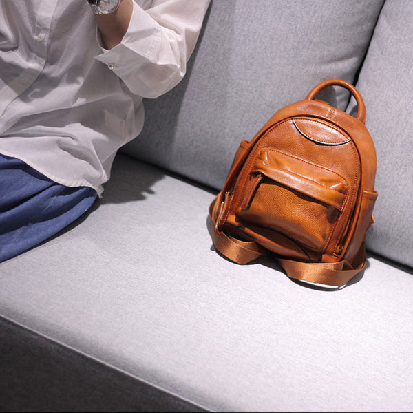 Vintage Ladies Mini Brown Leather Backpack Purse Cute Leather Backpacks for Women Chic