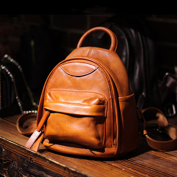 Vintage Ladies Mini Brown Leather Backpack Purse Cute Leather Backpacks for Women Designer