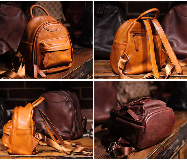 Vintage Ladies Mini Brown Leather Backpack Purse Cute Leather Backpacks for Women Genuine Leather