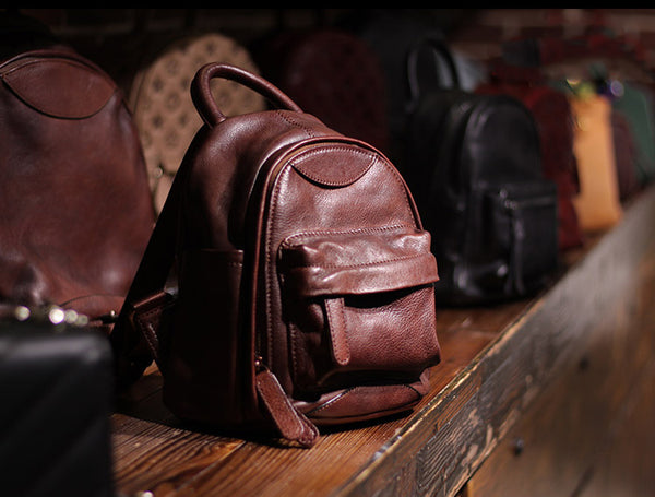 Vintage Ladies Mini Brown Leather Backpack Purse Cute Leather Backpacks for Women Outside